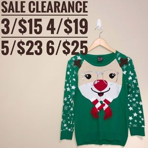 Rudolph Christmas Sweater SALE CLEARANCE 3 for 15